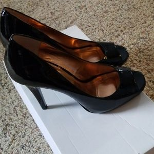 BCBG black patent leather peep toe
